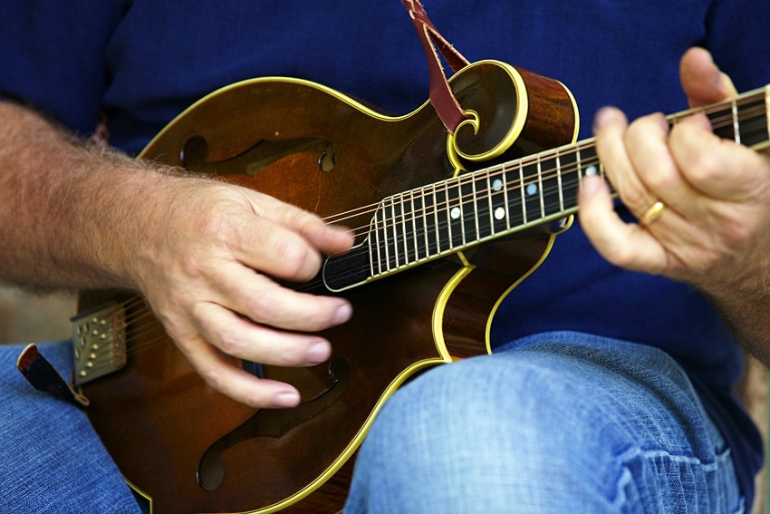 musician playing an 8-string mandolin