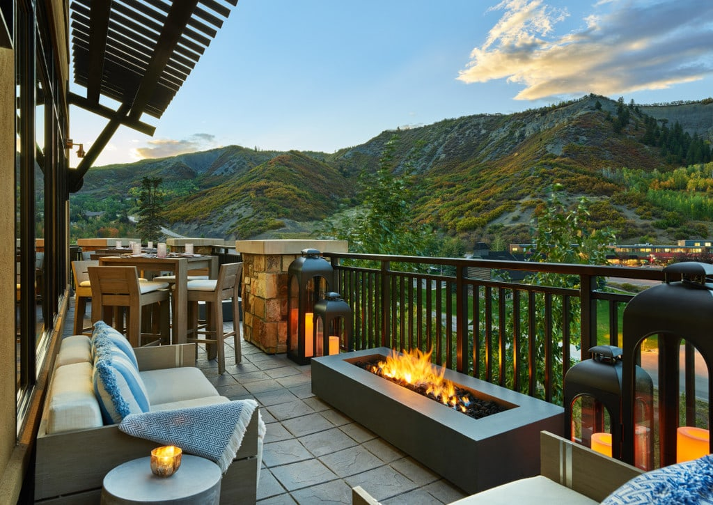 Viceroy Snowmass in the spring overlooking the mountains from a balcony