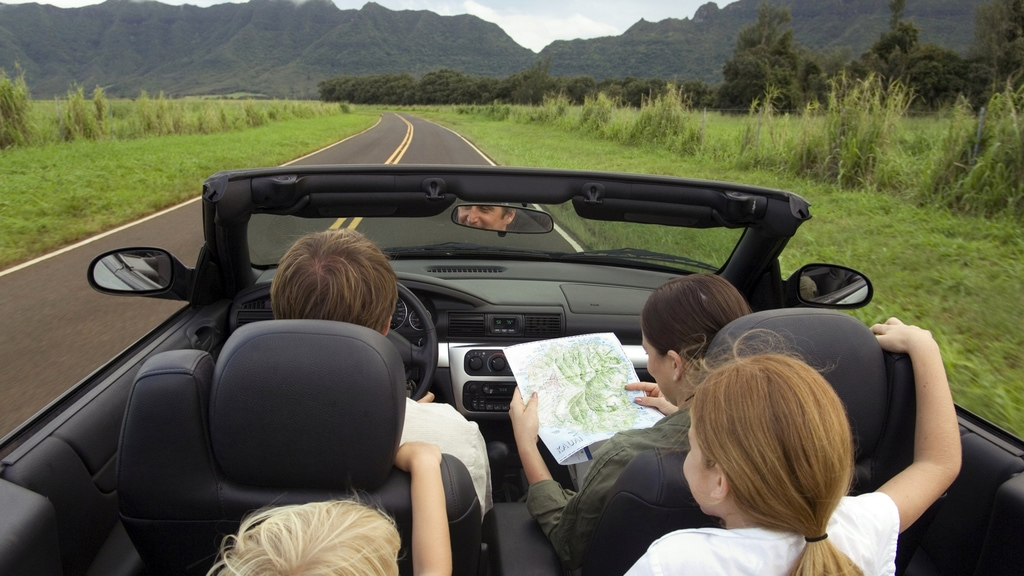 Family driving convertible
