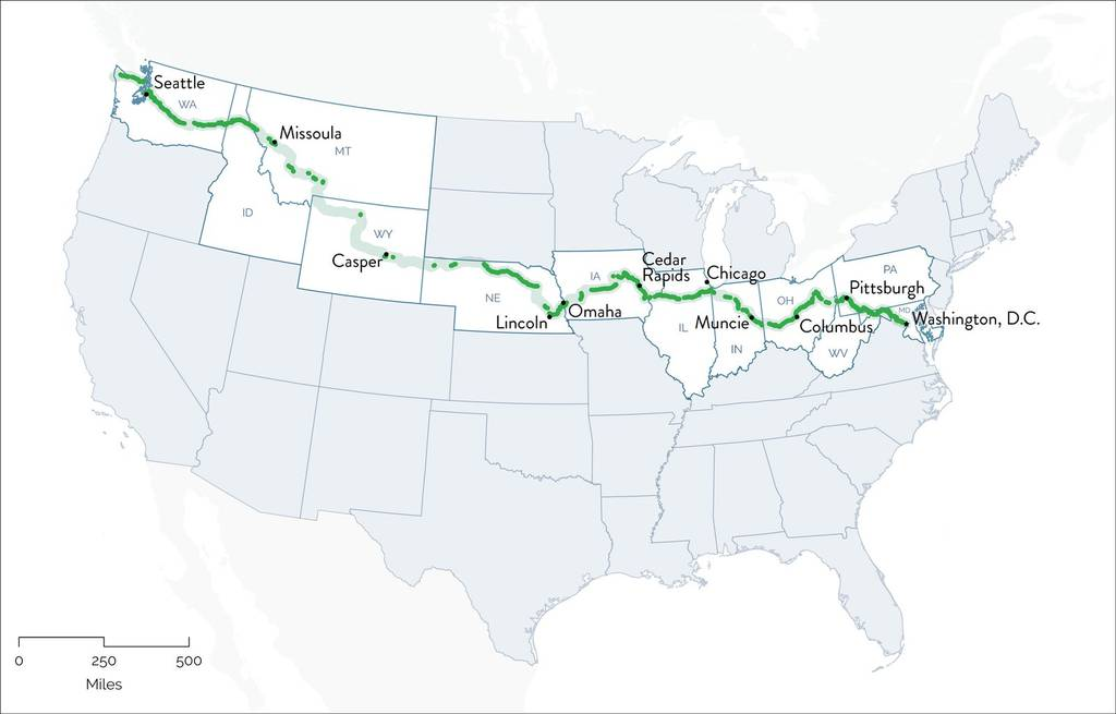 The official route for The Great American Rail-Trail.