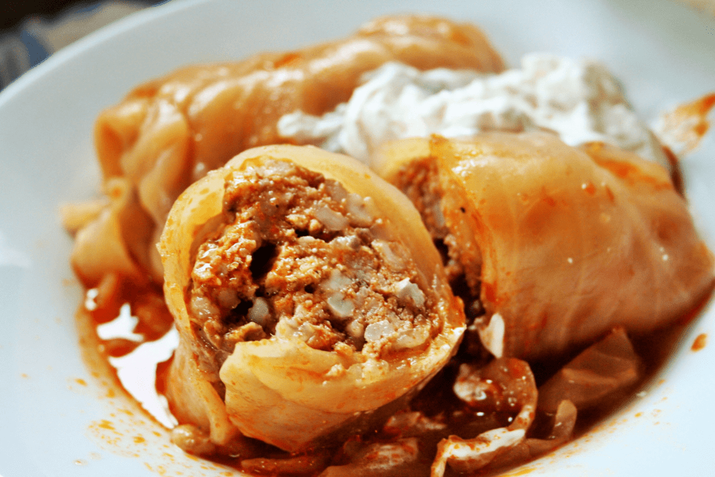 Stuffed Cabbage Cross Section in red sauce