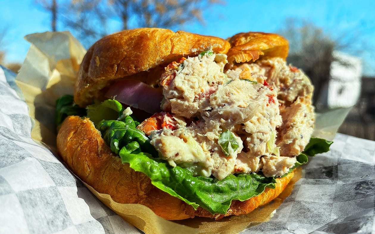 The smoked chicken salad from Carpenter's Cafe in Fort Worth, Texas goes great on a croissant.