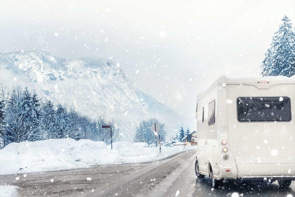 RV in winter background