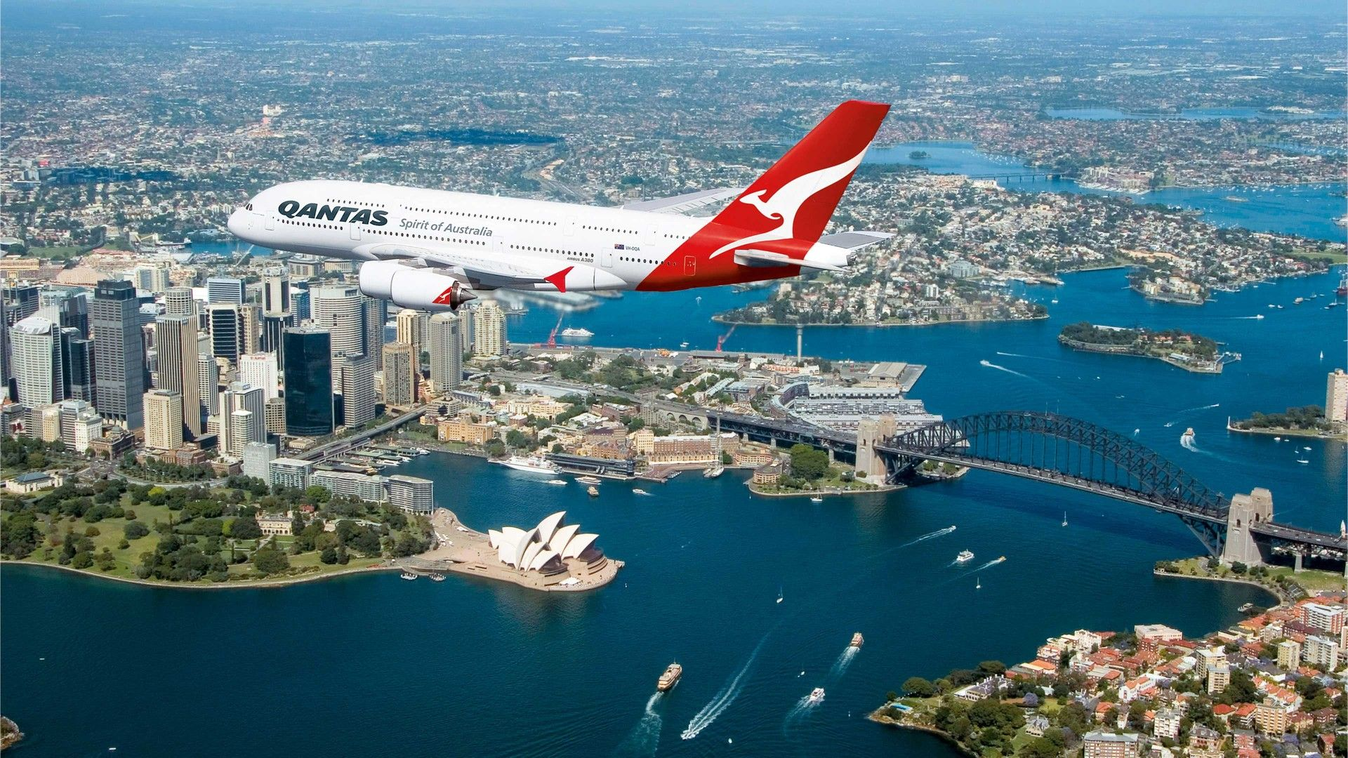 Qantas Airlines flying over Australia.