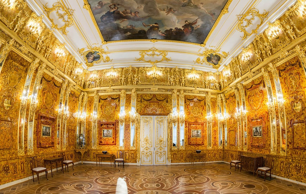 The Amber Room in the Catherine Palace in Russia after its reconstruction.